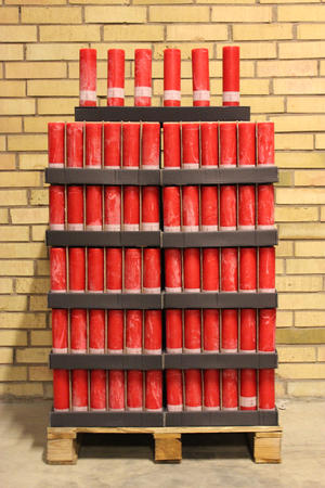 Display Cylinderljus Rustic Red 60x200 mm