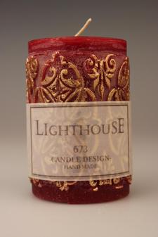 Cylinderljus Baroque Red 70x100 mm
