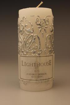 Cylinderljus Baroque Silver 70x150 mm
