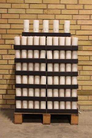Display Cylinderljus Stearin White 70x150 mm