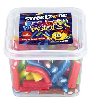 Sweetzone HALAL Rainbow Pencils i plastbox 180g
