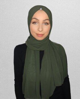 Crepe Chiffon hijab mörkgrön