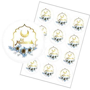 Eid Mubarak Klistermärken vit 12-pack