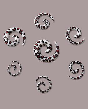 Töjsmycke Spiral Taper Leopard Vit Svart & Röd