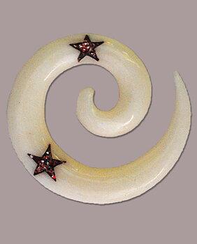 Töjsmycke Spiral Taper Benvit med Röd Stjärna