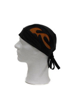 Scull Cap Skinnmössa Svart med Orange Flames