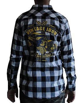 Flanellskjorta Vintage Iron Hot Rod Vit/Svart 50s Attitude