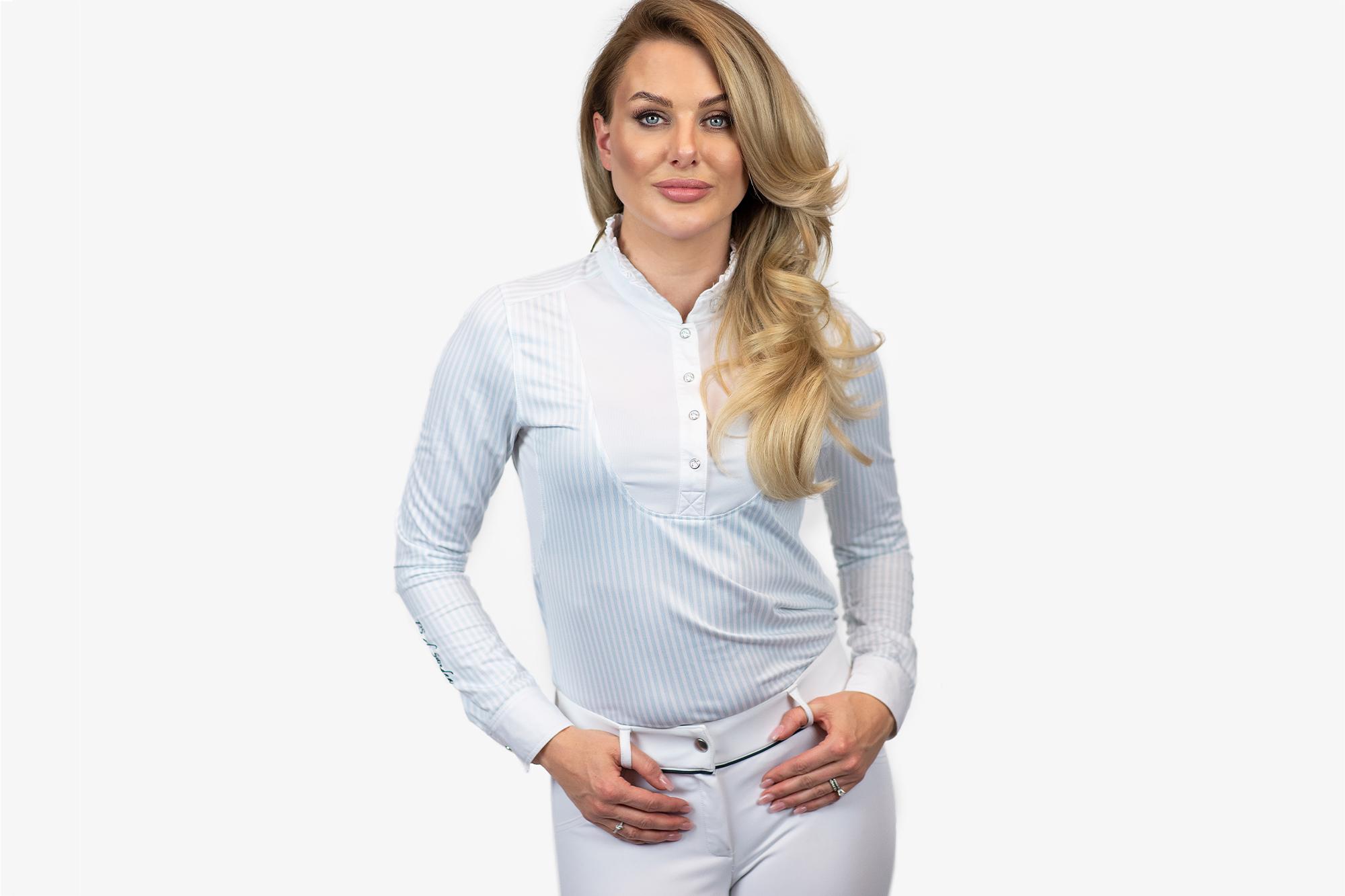 Tävlingsskjorta, Doris, Light blue/White - PS of Sweden