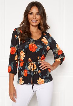 MELANIE TOP BLACK/PATTERNED