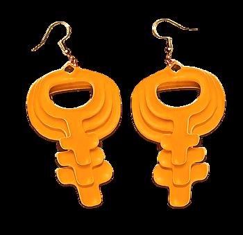 Orange Feminist Örhängen Trippel