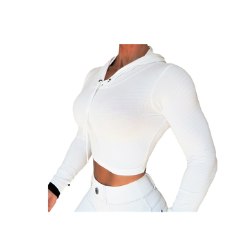 Raw By Adriana Kuhl Crop Hoodie White