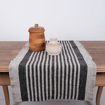 Heavy linen runner - striped
