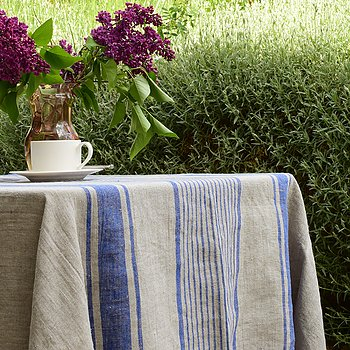 Linen tablecloth - village blue - washed