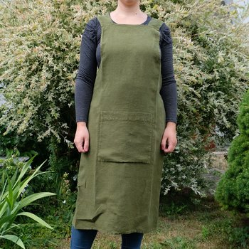 Olive green  - linen  - cross apron