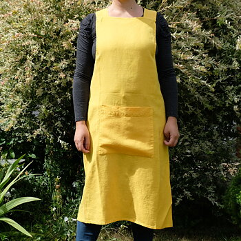 Sun yellow  - linen  - cross apron