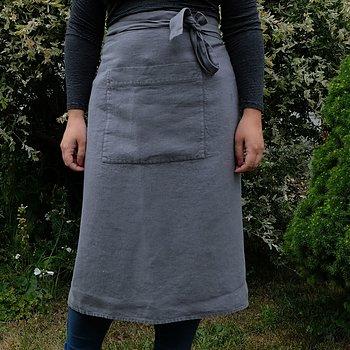 Grey linen half apron