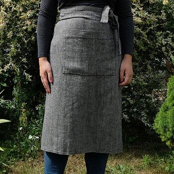 Broken twill linen  - half apron