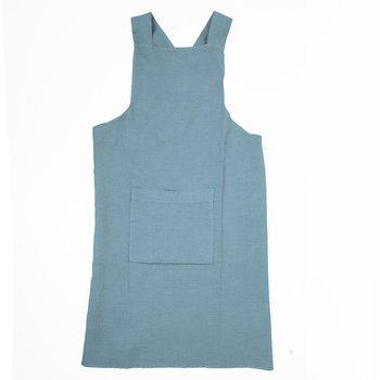 Sky blue  - linen  - cross apron