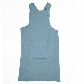 Sky blue  - linen  - cross apron