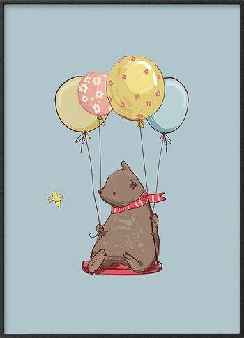 Brown bear on balloon ride