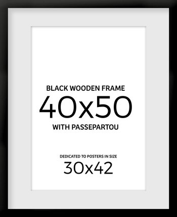 Black wooden frame 40x50 cm  with passepartou
