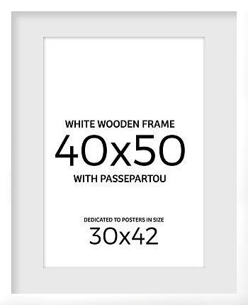 White wooden frame 40x50 cm with passepartou