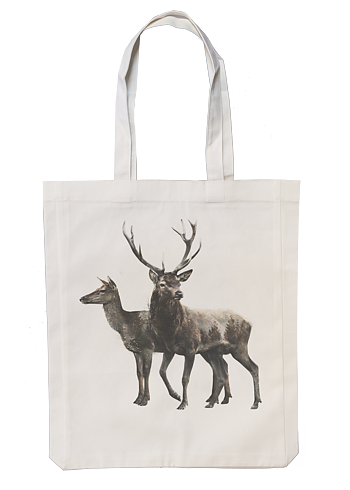 Red deer pair - Fabric bag 35x45 cm