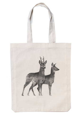 Roedeer couple - Fabric bag 35x45 cm