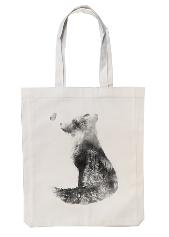 Fox meets butterfly - Fabric bag 35x45 cm