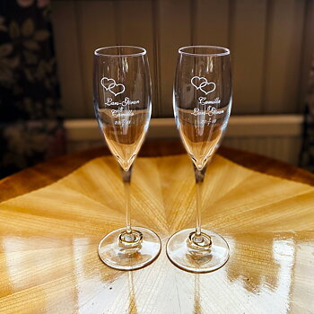 Wedding glass - Champagne glass 26 cl with engraving / price per pair