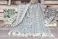 """Pläd - """"Anno 1862"""" mönster från handtryckt tapet från Dalarna"""