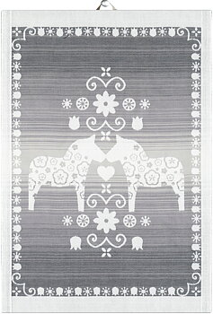Handduk - Ljusgrå Dalahäst 35x50 cm
