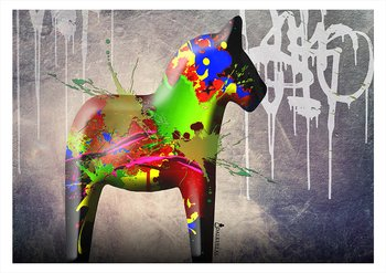 "Canvas print - Dala horse ""Graffiti"" 3 different motifs"