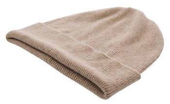 Stickad cashmere mössa m uppvik, sand från CTH Ericson, mjuk, varm och skön