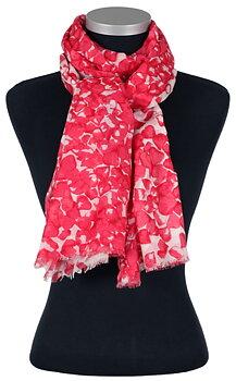 Vacker sjal från LindaLykke, röda toner på vit botten