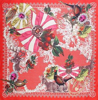 Klassisk liten sidenscarf röd botten från Amanda Christensen