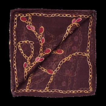 Ull/silkes scarf, mönstrad singlescarf på bordeaux botten från Amanda Christensen