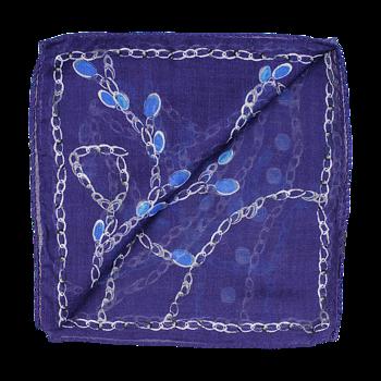 Ull/silkes scarf, mönstrad singlescarf på blå botten från Amanda Christensen