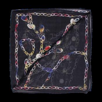 Stor rektangulär, Ull/silkes scarf, mönstrad singlescarf på svart botten från Amanda Christensen