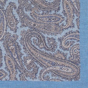 Pocketsquare/Ficknäsduk, sky blue Big paisley, A.Christensen