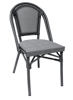 Paris stol, textylene grå/svartvit