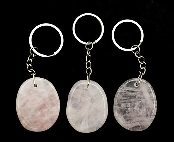 Nyckelring Bergkristall, Rosenkvart, Unakit