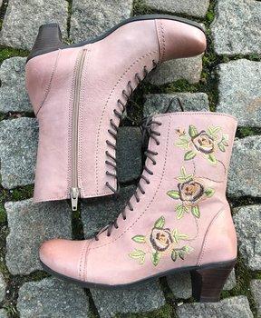Brakos  Mia mormorskängor med blommor färg Shaddow, modell Mia