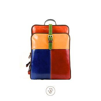 Multicolor ryggsäck från  Tornabouni i naturgarvat skinn, 35x10x28