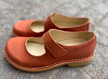 Bred sko från Grunbein, modell Gerda,  nubuck Terrakotta