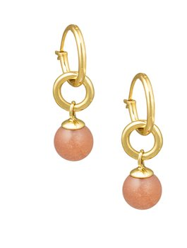 Hoops with peach moonstone brass