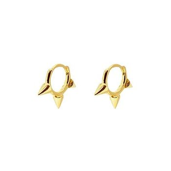 3 spiky earrings gold