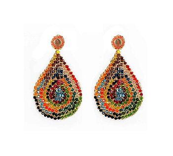 Multicolored Hand Crochet Tear Drop Earrings