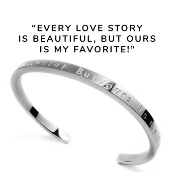 "Stelt armband med text ""Every love story is beautiful. But ours is my favorite!"", stål 