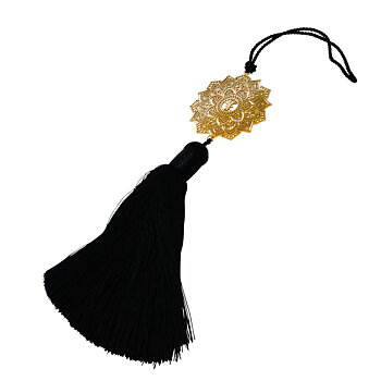 Yoga accessory Mandala maxi gold, black silk tassel